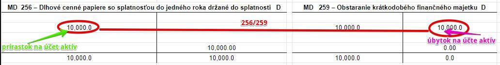 256 – Dlhové cenné papiere so splatnosťou do jedného roka držané do splatnosti
